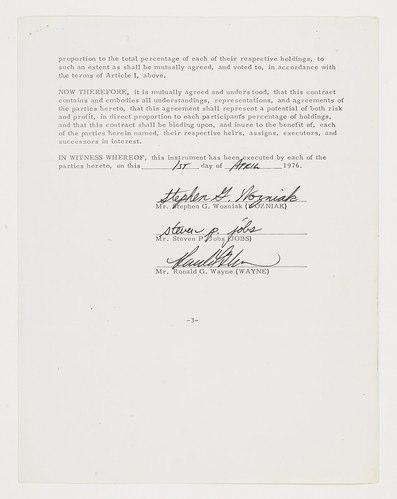 contrat d'incorporation d'Apple signé le 1er avril 1976 en 3 pages